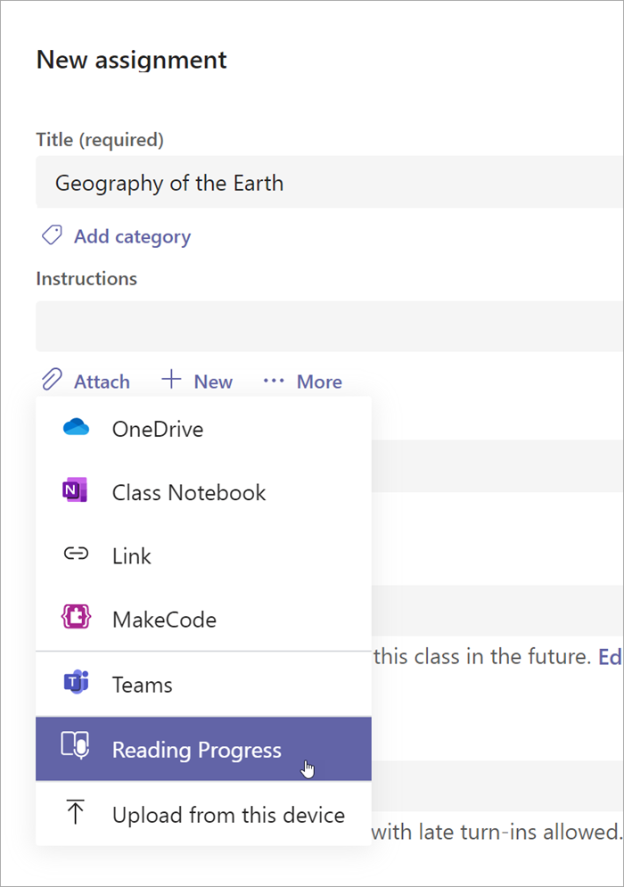 screenshot of assignment creation in teams after selecing attach reading progress is the 6th option in the dropdown
