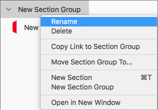 Rename section group in OneNote for Mac