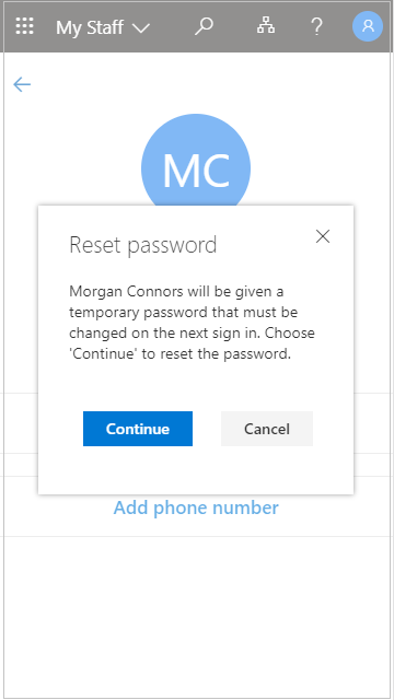 Reset a user password in My Staff