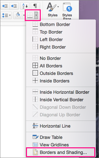 On the Home tab, the Borders icon and Borders and Shading are highlighed.
