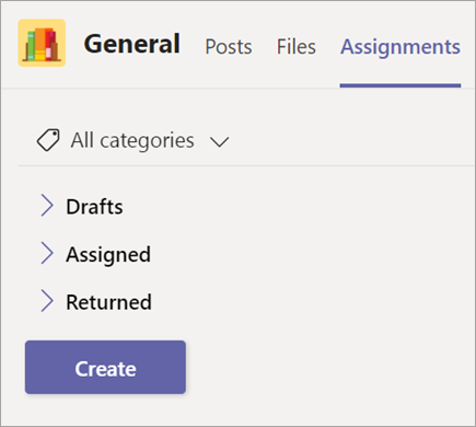 Drafts, Assigned, and Graded dropdown arrows.