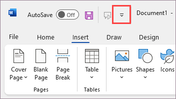 Quick Access Toolbar above the ribbon