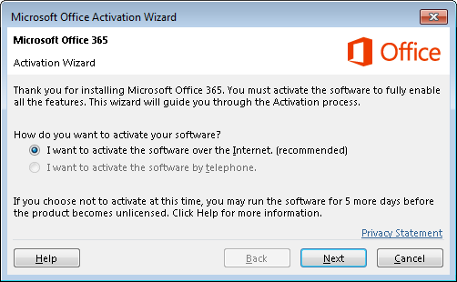 Shows the Activation wizard for Office 365