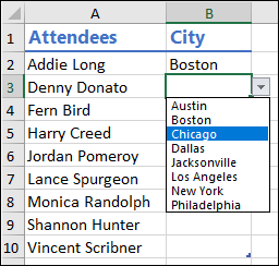 Drop-down list selection example