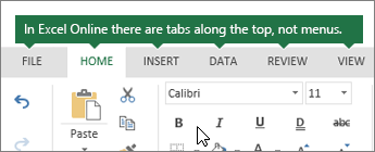 Home, Insert, Data, View tabs in Excel for the web
