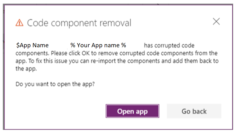 Code component removal warning