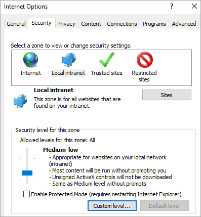 Security tab of Internet Explorer options, showing the Custom level button