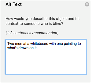 Alt Text pane for adding alt text to an image in Outlook