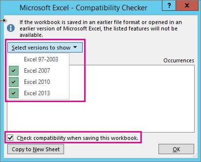 Worksheet compatibility issues - Excel