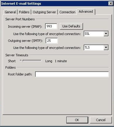 Screen shot of the Advanced tab in the Internet E-mail Settings dialog box.