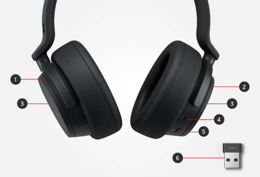 Buttons and dials on Surface Headphones plus Surface USB Link