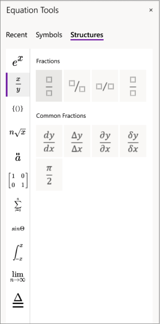 Structures in Equation Tools