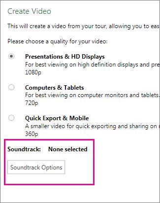Create Video dialog box