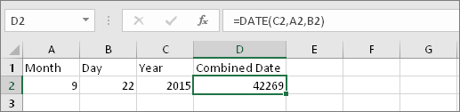 A2 contains 9, B2 contains 22, C2 contains 2015, D2 contains =DATE(C2,A2,B2), result is 42269