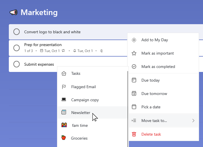 Marketing list with the task Convert logo to black and white selected and the context menu open. Move task to has been selected and Newsletter list is chosen.