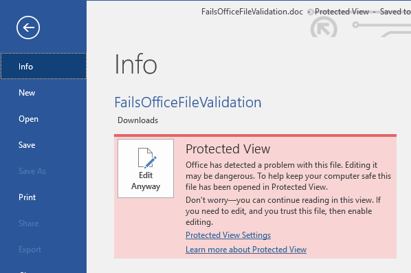 Protected View Office File Validation Failure Backstage