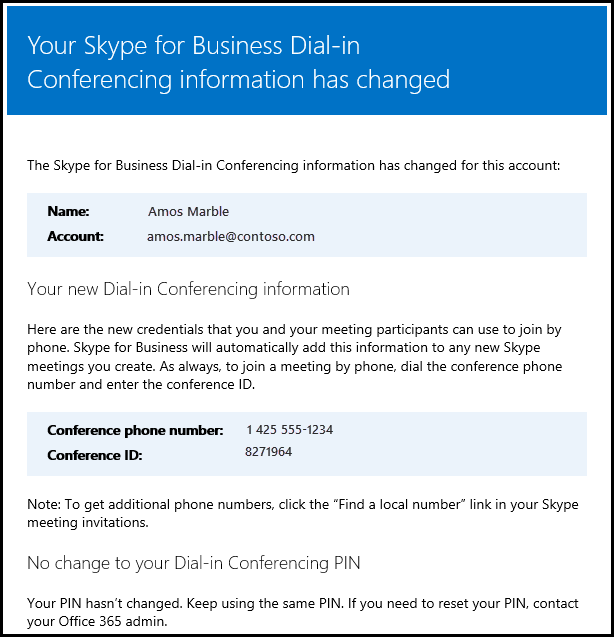 Dial-in conferencing info has changed.