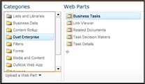 The Web Part Picker enables you to navigate to the Business Tasks web part that you want to insert.