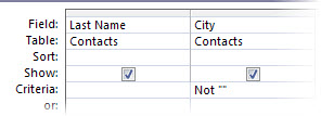 query designer criteria set to country field not blank
