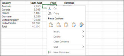 Right-click any cell to display your Cut/Copy/Paste options in Excel for the Web.