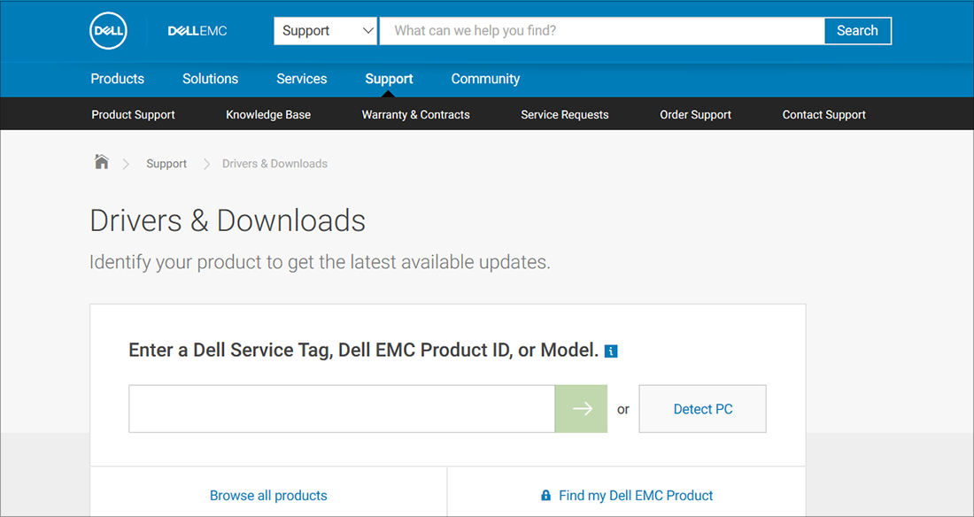 Dell drivers and downloads OEM example