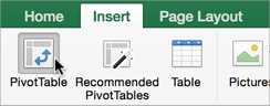 Insert PivotTable button