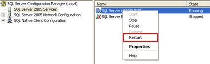 Restart the SQL Server service