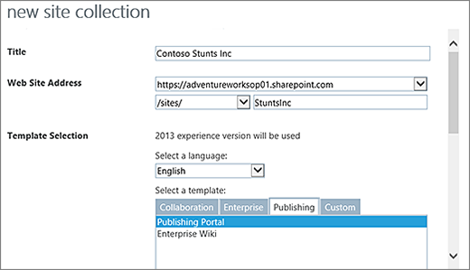 New Site collection dialog top half with Publishing Portal highlighted