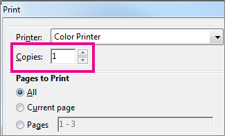Word Online printer dialog