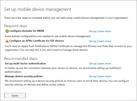 Set up mobile device management required and recommended steps