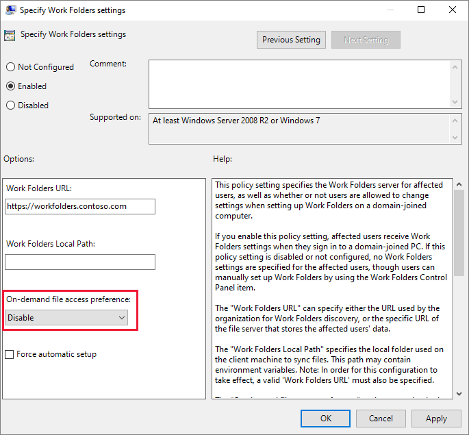 Work Folders group policy setting