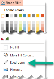 The Eyedropper tool is located on the Shape Fill menu.