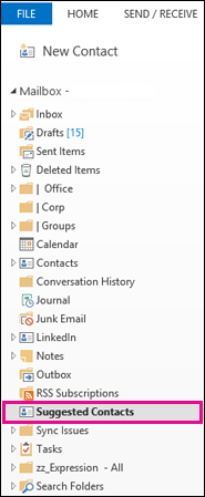 The Suggested Contacts folder in the Folders pane