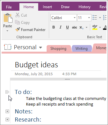 Screenshot of how to collapse an outline in OneNote 2016.
