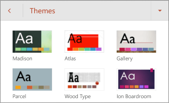 Themes for slides in PowerPoint for Android.