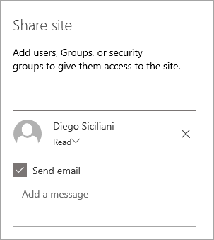 Adding a person in the Share site pane