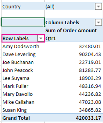 Rows area in the PivotTable
