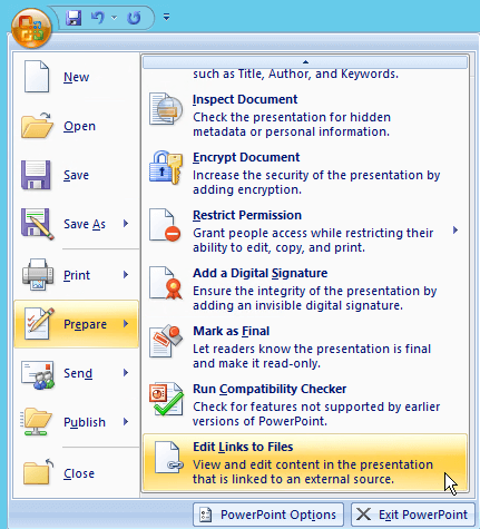 Update or remove a broken link to an external file - PowerPoint