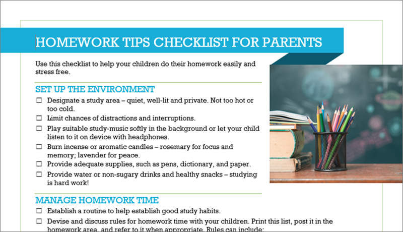Image of a checklist of homework tips for parents. Photo of pencil holder containing colored pencils, on desk next to a stack of books