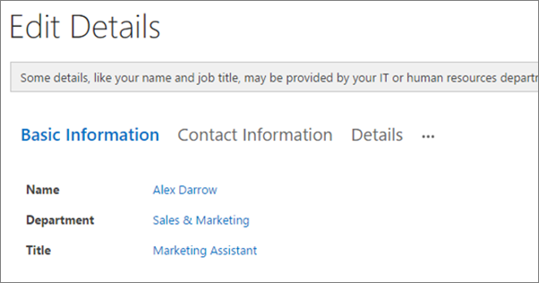 Screenshot of the Edit Details page for a user in Yammer.