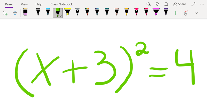 Write a math equation in OneNote for Windows 10