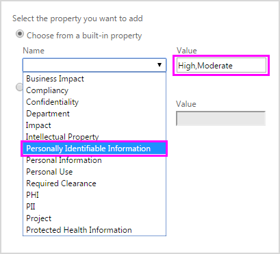 Choosing built-in FCI property and entering property values in dialog