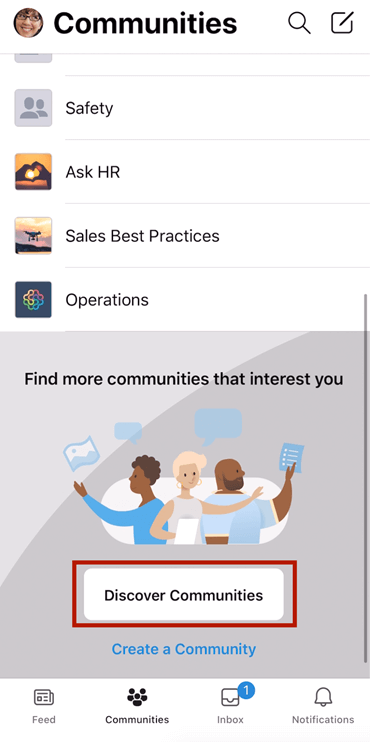 Screenshot showing finding Yammer communities on mobile with selection