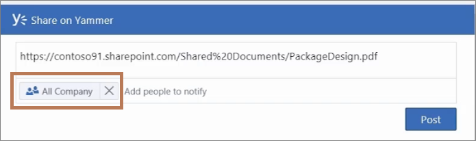 Posting a PDF file to Yammer