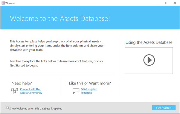 Getting started form in an Access Assets database template