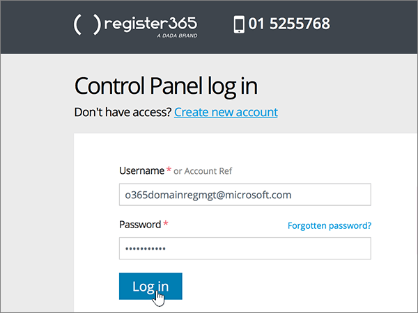 The Control Panel log in page