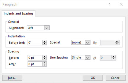 Image of the Paragraph dialog for editing text box text indents and spacing
