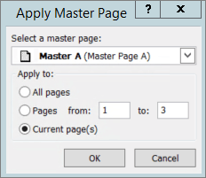A screenshot shows the Apply Master Page dialog box.