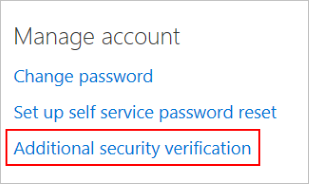 My Apps link to the Additional security verification page