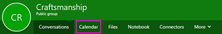 Calendar button on groups ribbon in OWA
